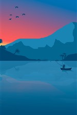 Preview iPhone wallpaper Mountains, lake, sunrise, boat, fisher, art picture