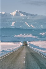 Preview iPhone wallpaper Mountains, snow, white world, road