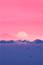 Preview iPhone wallpaper Mountains, sunset, red sky, vector picture