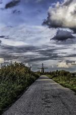 Aperçu iPhone fond d'écranPays-Bas, route, arbres, moulins à vent, nuages, village