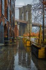 Preview iPhone wallpaper New York, cafe, bridge, wet, rain