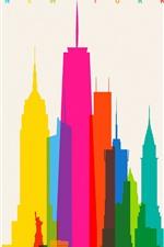 Nova York, cidade, arranha-céus, colorido, vector imagem