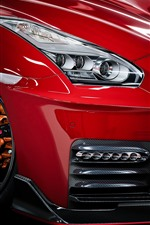 Preview iPhone wallpaper Nissan GTR red car front view, headlight