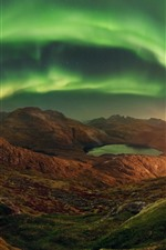 Preview iPhone wallpaper Northern lights, mountains, lake, lights, beautiful night