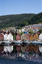 Preview iPhone wallpaper Norway, Bryggen, yachts, houses, sea