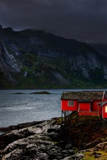 Preview iPhone wallpaper Norway, Nordland, houses, mountains, clouds, lake, dusk
