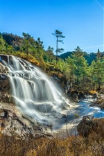 Preview iPhone wallpaper Norway, Rogaland, waterfall, trees, sun rays, nature landscape