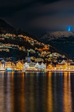 Preview iPhone wallpaper Norway, night, lake, city, lights, mountains