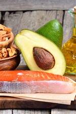 Preview iPhone wallpaper Nuts, avocado, olives, fish, oil