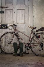 Bicicleta velha, porta