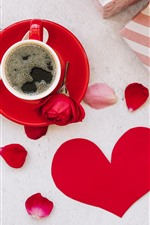 One cup coffee, red roses, gift, love heart