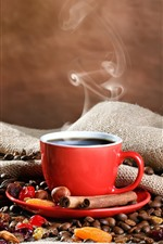One cup of coffee, red mug, coffee beans