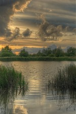 Preview iPhone wallpaper Overcast day, grass, river, water, clouds, dusk