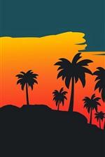 Palmeiras, pôr do sol, imagens de vetor