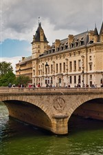 Preview iPhone wallpaper Paris, France, Seine River, bridge, buildings, city, people