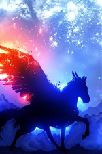 Preview iPhone wallpaper Pegasus, wings, starry, clouds, night, silhouette, art picture