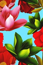 Pink red and green flowers, texture background