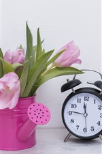 Preview iPhone wallpaper Pink tulips and alarm clock