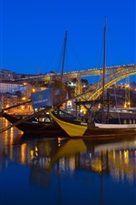 Preview iPhone wallpaper Portugal, river, bridge, boats, lights, night, city