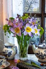 Preview iPhone wallpaper Purple flowers, vase, kettle, cup, tea, window, lamp