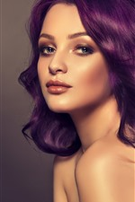 Preview iPhone wallpaper Purple hair girl, hairstyle, face, fashion