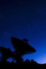 Radio telescope, silhouette, stars, sky, night