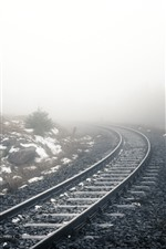 Preview iPhone wallpaper Railroad, fog, snow, morning, hazy