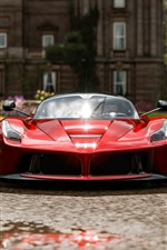 Vista frontal supercar vermelho Ferrari, Forza Horizon 4