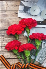 Preview iPhone wallpaper Red carnation flowers, candles, wood board
