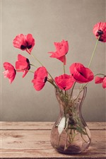 Preview iPhone wallpaper Red poppies, flowers, vase