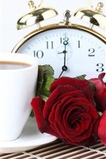 Preview iPhone wallpaper Red roses, coffee, pocket watch