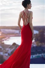 Preview iPhone wallpaper Red skirt girl, fashion, roof, back view