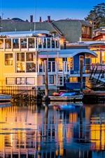 Sausalito, USA, houses, river, pier, lights