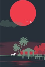 Sea, beach, tropical, palm trees, sun, birds, art picture