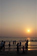 미리보기 iPhone 배경 화면 쌍월만, 일몰, 바다, 혜주, 중국