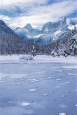 Slovenia, Lake Jasna, mountains, trees, snow, winter