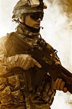 Preview iPhone wallpaper Soldier, helmet, weapon