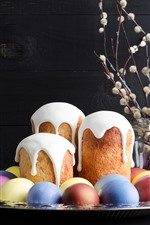 Preview iPhone wallpaper Some cakes and colorful eggs, Happy Easter