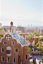 Preview iPhone wallpaper Spain, Barcelona, city, sun rays