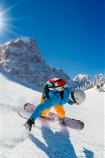 Preview iPhone wallpaper Sport, snowboard, snow, sun rays, mountains