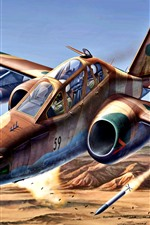 Preview iPhone wallpaper Su-25 military aircraft, art painting