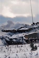 Preview iPhone wallpaper Tank, army, snow, smoke