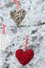 Three love hearts, decoration, twigs, snow, winter