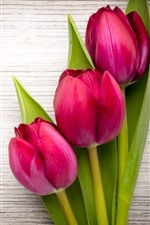 Preview iPhone wallpaper Three pink tulips, wood background