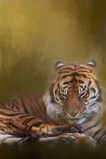 Preview iPhone wallpaper Tiger rest, hazy, art painting