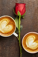 Preview iPhone wallpaper Two cups of cappuccino, love hearts, red rose, romantic