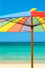 Guarda-chuva, cores do arco-íris, praia, mar