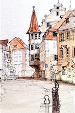 Preview iPhone wallpaper Watercolor painting, France, houses, city