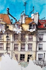 Preview iPhone wallpaper Watercolor painting, Paris, houses