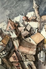 Preview iPhone wallpaper Watercolors, city, houses, top view